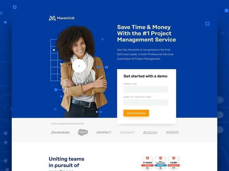 Mavenlink project management software website minimal web design lead generation landing page
