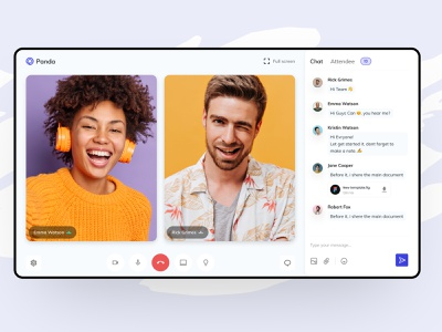 Video Call Interface Design web design interface dashboard stream online course recording livestream live skype zoom ui ux video call conference communication chat call webinar learning saas