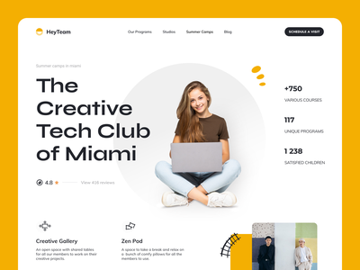 HeyTeam - The Creative Tech Club of Miami education landing page edtech teach lessons visual identity identity design hero section web online education e learning courses