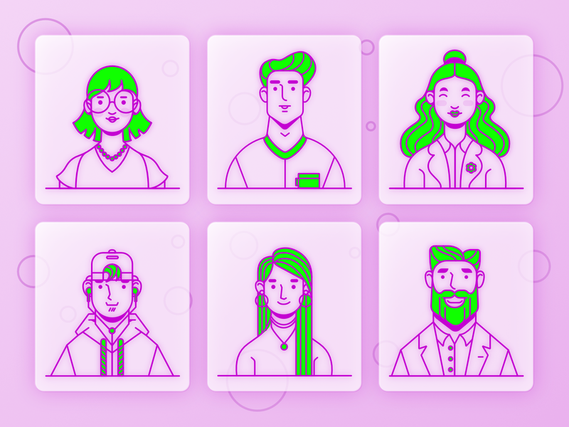 Personas characterdesign character design uiux design uiux webdesign personas avatars lineart vector vector illustration affinitydesigner illustration