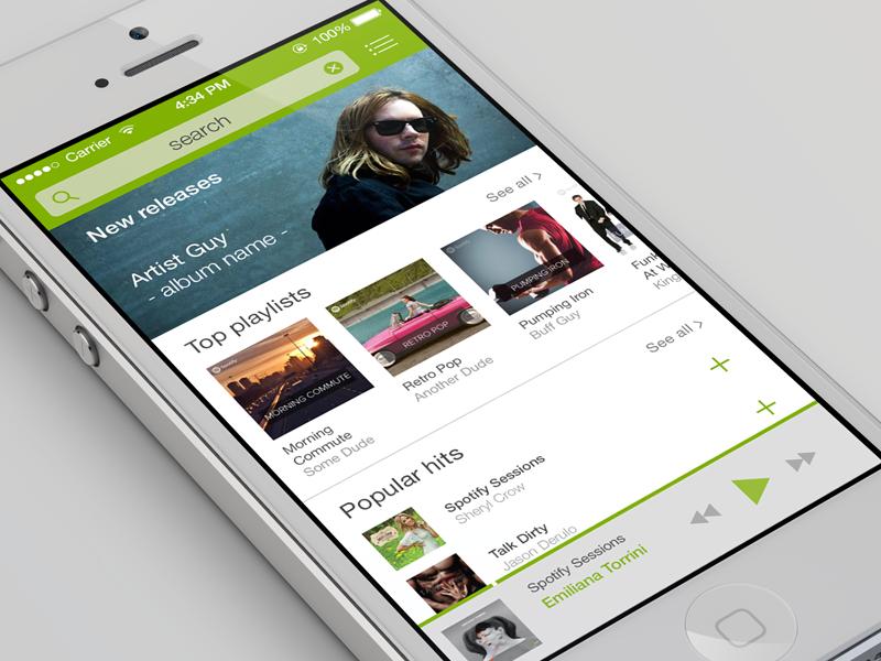 Search user interface ios 7 ui grey green playlist music spotify retina iphone apple ios