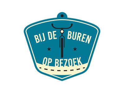 Bij De Buren Op Bezoek bij de buren op bezoek identity road bike yellow blue logo design