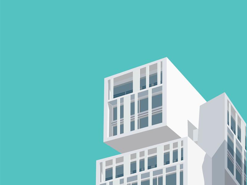 Building Archie 03 architect architectural design vector design flat building flat  design illustration