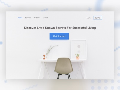 Secrets for Successful Living! sketchapp top fold white space landing page simple dots blue shadow flat website minimal banner