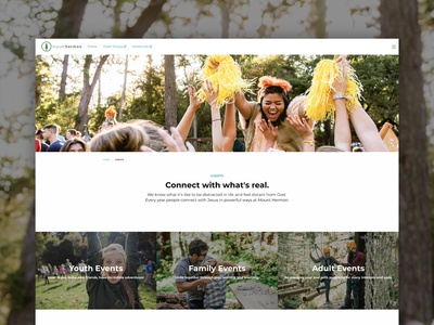 Camp Website – Events Landing Page