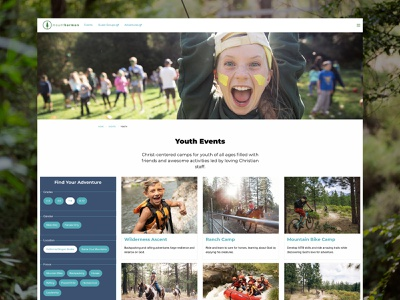 Camp Website – Event Results tiles searching search category event search card design search results filtering filter web design website nature youth events design ux ui youth camp summer camp mount hermon
