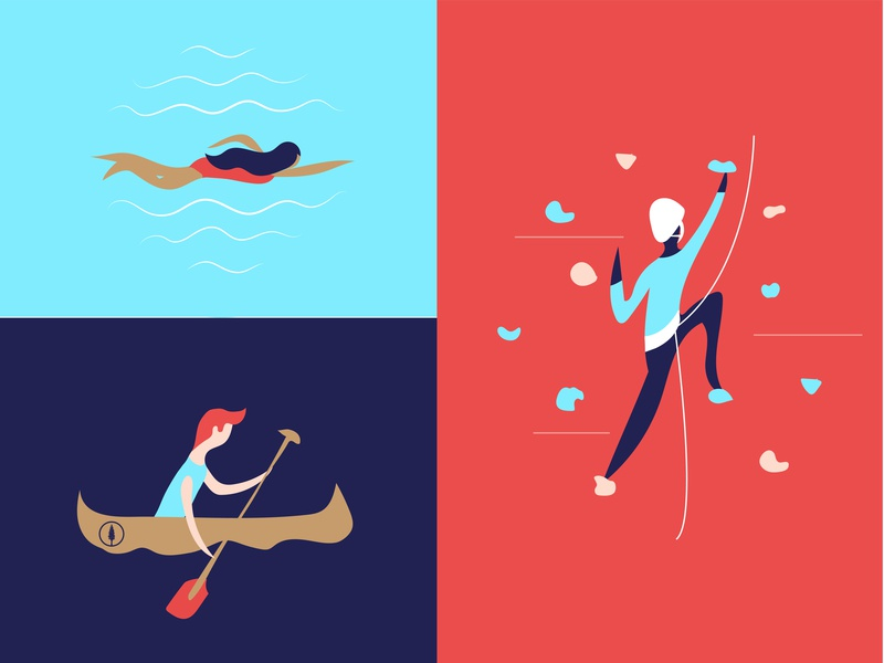 Active Lifestyle – Adventure Activities fun people iconography nature canoeing canoe recreation adventure colorful color character summer camp climber swimmer swimming rock climbing illustrator vector illustration fitness