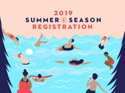Summer Season Illustration people kids character fun fitness digital art colour design pool colorful color vector scene diving volleyball swimming jumping illustrator illustration summer camp