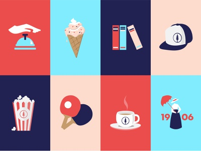 Amenities Icons icon illustration table tennis colorful color travel vacation summer camp hotel iconography historical center coffee book shop ice cream ping pong popcorn reception front desk amenities