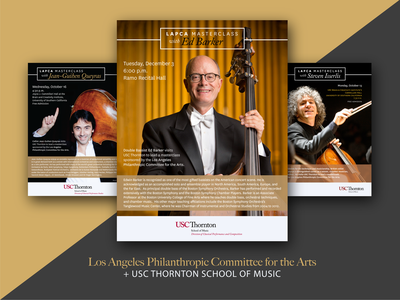 USC Thornton + LAPCA Masterclass Posters music orchestra concert poster concert flyer simple usc graphic design design event poster masterclass cello double bass university classical music classical concert poster print