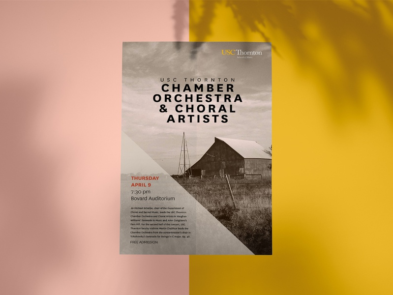 USC Thornton Chamber Orchestra –Take 2! usc subdued print sepia clean design choral simplistic simple event poster event clean graphic design design poster orchestra music art classical music classic choir barn