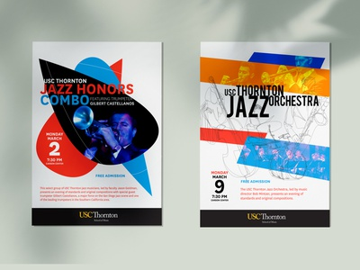 USC Thornton Jazz Concert Posters typography graphic design design marketing design concerts concert poster concert flyer concert trumpet shape elements shapes color sketch illustration orchestra poster print music jazz usc thornton