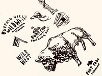 Fort Cody Trading Post Branding - Process inktober bison sketch buffalo logo brainstorm illustration art illustrations western hat ink fort wild west animal logo animal illustration nebraska process illustration branding animal