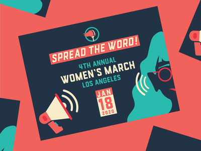 Women's March Los Angeles 2020 feminism march vector woman illustration illustration promotional promo funky megaphone typography social media design social media los angeles womens march woman activism graphic design fun colorful