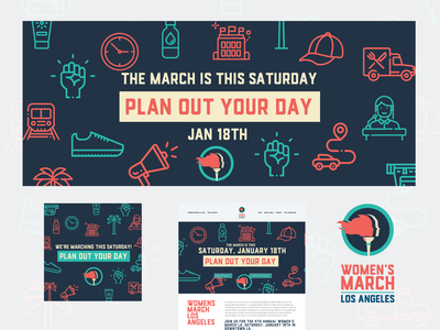 Women's March 2020 Los Angeles excitement blue background event illustration promotional promo social media banner social media design email banner marketing color womens rights womens march icons design