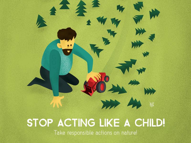 Stop deforestation! artwork texture vector campaign green deforestation child forest tree activism illustration