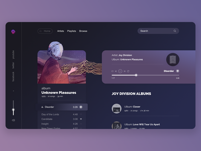 Music Player, Unknown Pleasures unknown pleasure space music astronaut web design joy division music player ui ux design ui ux digital art drawing illustration