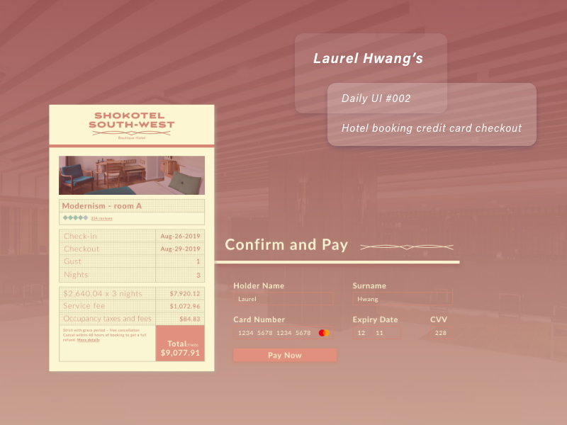 daily UI 002_Hotel booking credit card checkout hotelbooking creditcardcheckout dailyui002 ui design daily ui daily daily 100 challenge