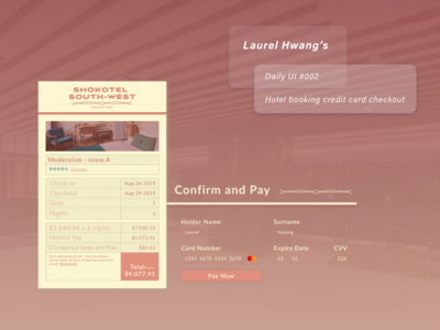 daily UI 002_Hotel booking credit card checkout