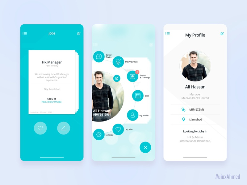 Jobportal App Ui uiuxahmed profile ux ui cricle menu portal job