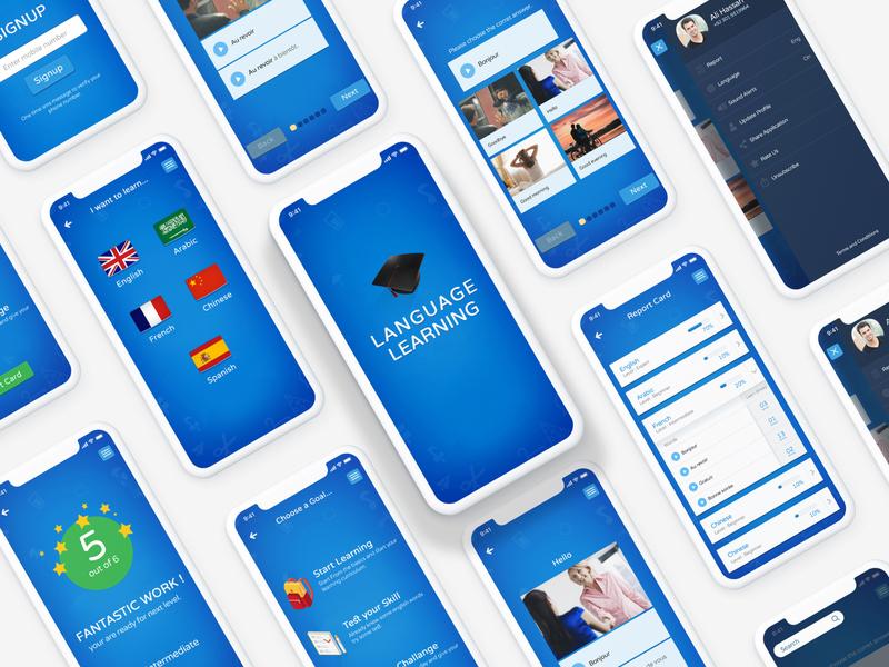 Language Learning Fun App UI design iphone game fun education learning app ux ui uiuxahmed