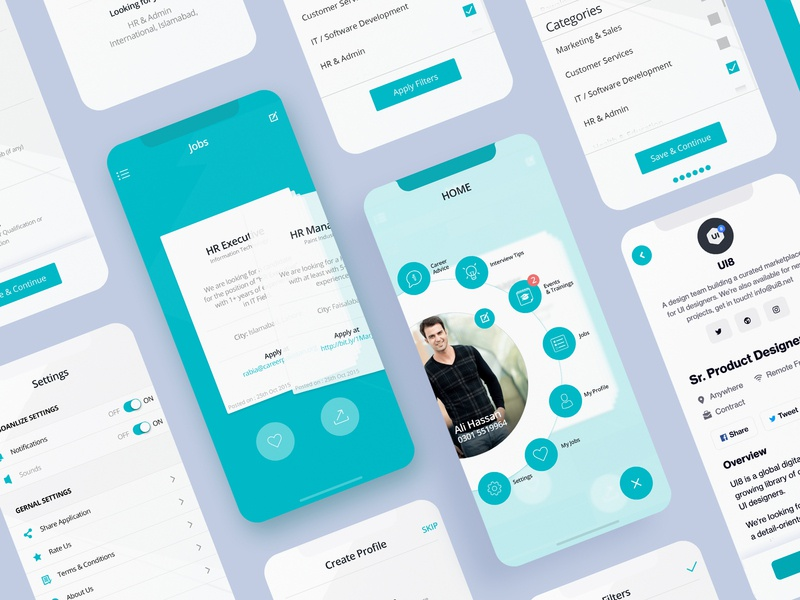 Job Portal App Ui job listing job board jobs menu design uiuxahmed ux ui app job iphone