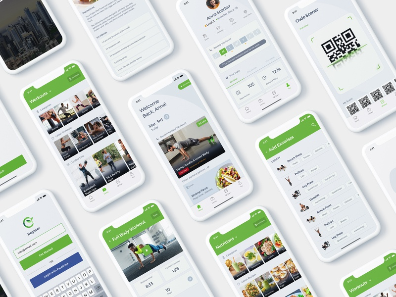 Gym App UI Kit uiuxahmed workout tracker fitness my workout qr scan app workout profile dashboard design excercise gym gym app