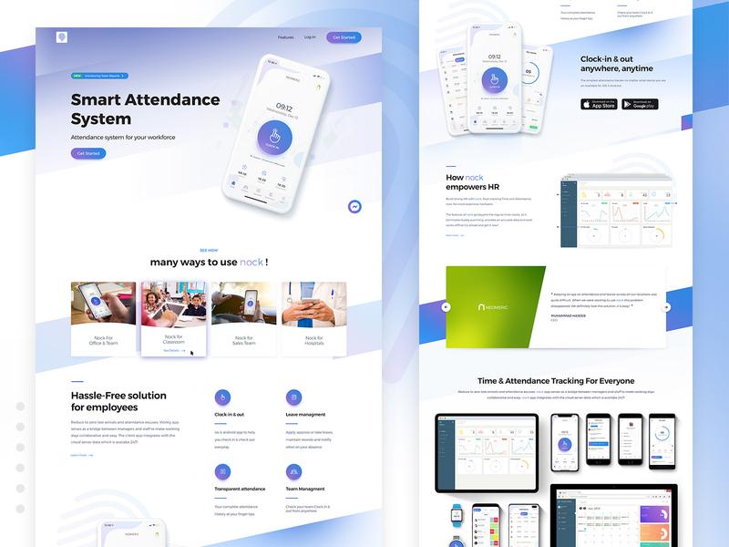 Nock - Smart Attendance System App Landing Page neomeric me2ahmedhassan website clean ui landing page attendance nock