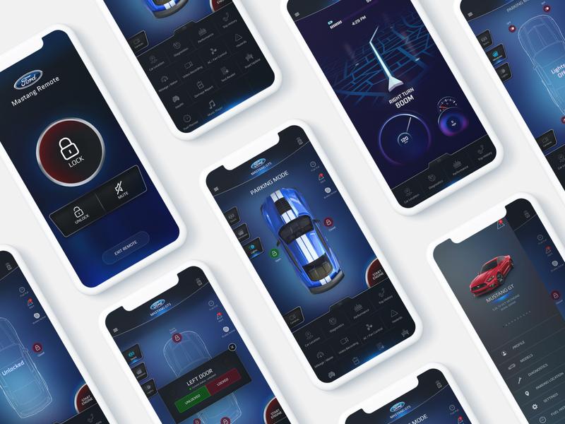 Ford Car Remote App UI iphone x ux ui remote one ui map driving design dashboard car branding