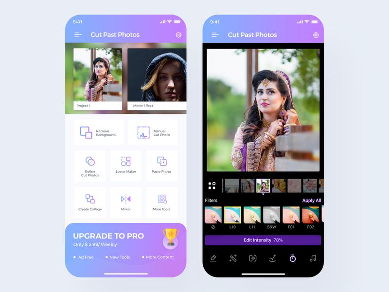 Photo Editing App UI dark darkui filter minimal app photos editing photo ui
