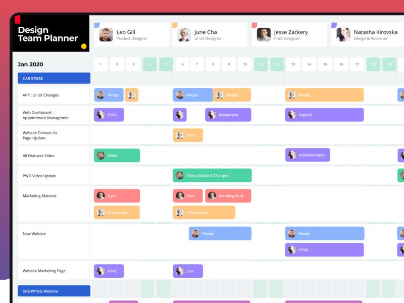 Design Team Planner UI team progress timeline app uiuxahmed calendar teamwork dashboard ui xd design planner