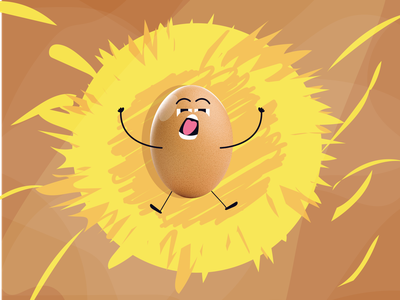 YAWN! doodle facial expressions expression yellow hay straw sleepy wake up wakeup wake sleeping sleep bed yawning yawn nest chicken egg cartoon character design