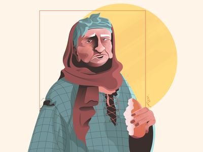Too old for this .. </3 sad eat torn wrinkles retro clothes portrait hands old clothes hunger bread elderly old poverty poor woman strokes illustration arab character design