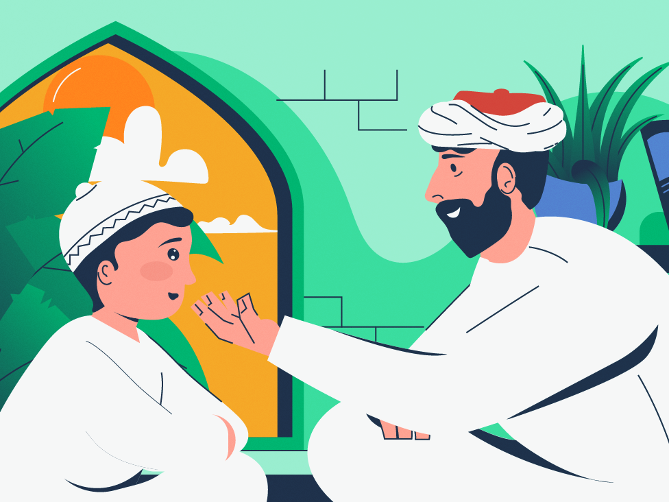 Let me tell you how i met your mother, son ! old story telling storytelling admire cute kid dad parenting parent home family child son father and son father window arab clothes arab wear arab character design