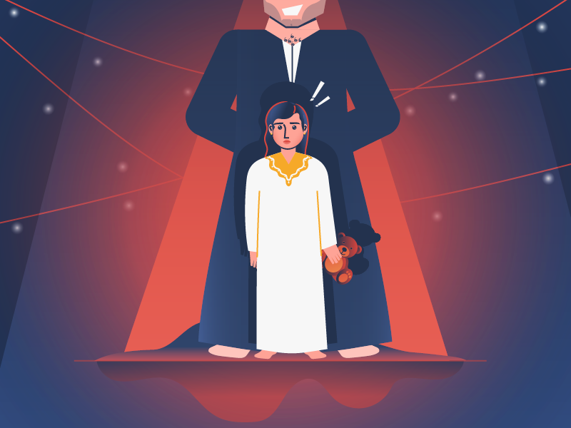 Forced Marriage on underage girls .. abuse girl children child peado paedophilia blood marriage underage crisis wrong scared frightened sad color palette vector illustration arab clothes arab wear character design