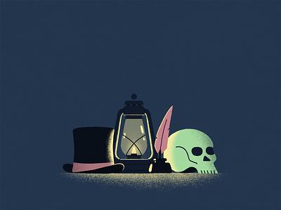 Ink&Skull light texture moody skull ink feather vintage old lamp hat illustration