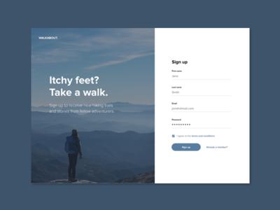 Daily UI #001 - Sign up adventure design web ui signup dailyui