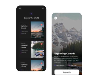 Travel UI Shot adobe xd ux design canada graphic mobile uiuxdesign uxdesign ui design ui