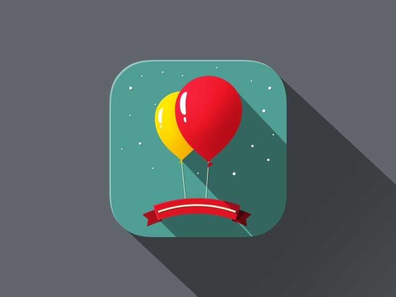 iOS 7 App Icon ios7 app long shadow party baloons long-shadow flat