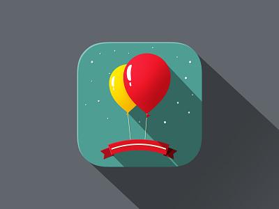 iOS 7 App Icon ios7 app long shadow party baloons long-shadow flat