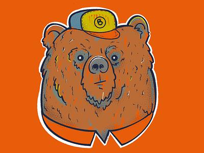 Old bear guy procreate orange illustration bear
