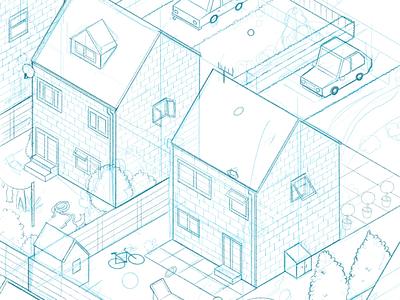 Suburbs suburbs isometric illustration procreate