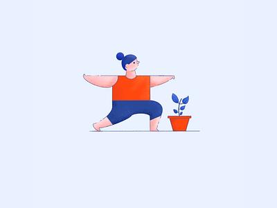 Yoga exercise girl character plant illustration procreate yoga