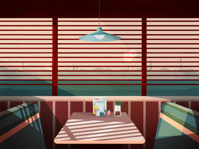 Lonely sunset diner pink green coffee americana photoshop sunset illustration diner