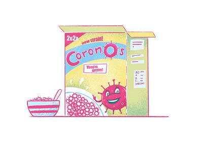 CoronOs illustration junk food yellow pink procreate covid coronavirus cereal