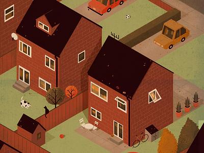 Autumn bike dog cat garden houses suburbs fall orange illustration halloween procreate autumn