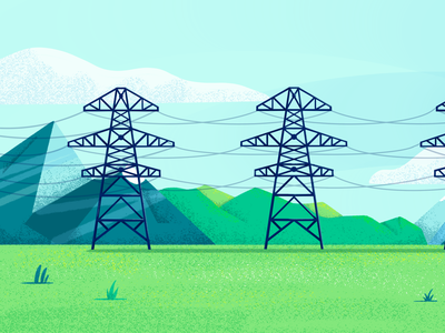 Pylons illustration electricity texture procreate landscape sky fields mountain clouds pylons