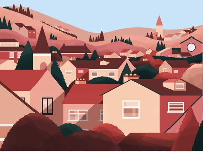 sunset suburbs landscape town houses trees blue pink suburbs nature sunset illustrator texture photoshop illustration