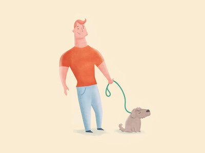 A guy and his scruffy pal drawing texture guy dog character design photoshop illustration