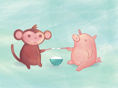 Monkey and Pig Friends